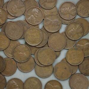 1944-S-Lincoln-Wheat-Cent-Roll-50-Circulated-Pennies-US-Coins