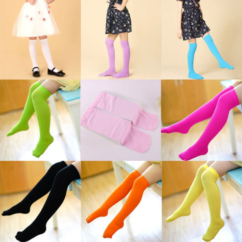 Fashion Kids Girls Toddlers Thigh-Highs Candy Color Velvet Stocking Socks