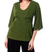 Carolyn Strauss Empire Waist V-neck Top $46.90 Black S Small