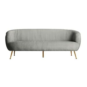 3 Seater Light Grey Velvet Sofa Gold Art Deco Legs Velvet Lounge Art Deco Style Ebay