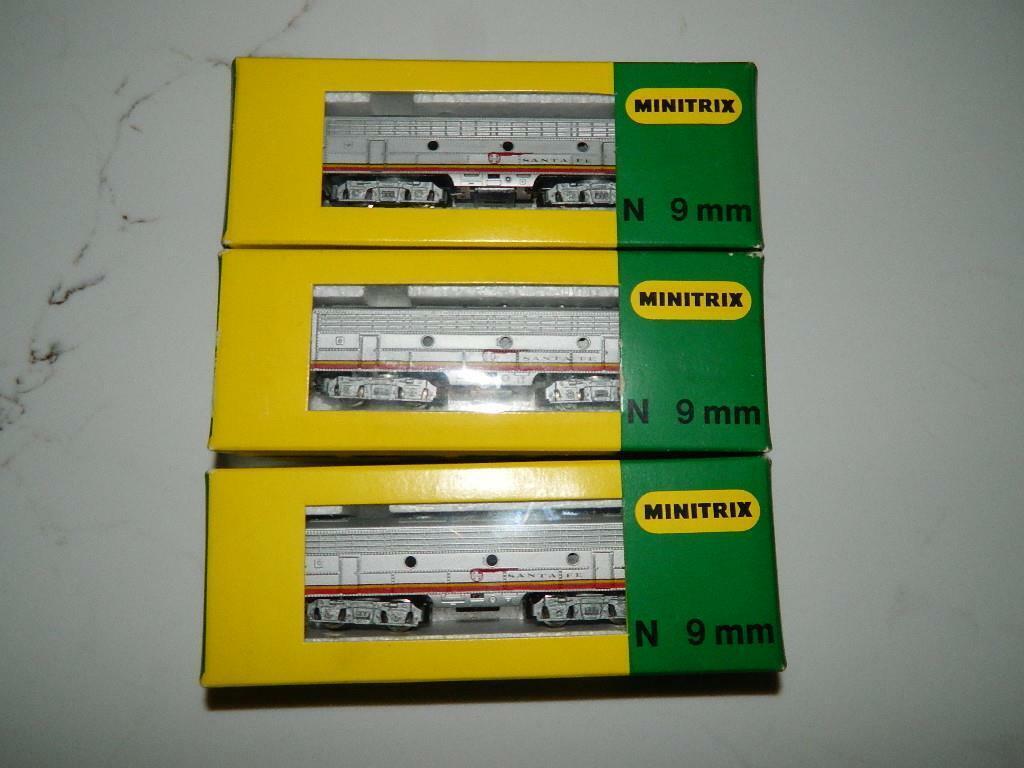 Vintage Minitrix N escala 9mm Santa Fe 51 2903 00 Lote de 3 locomotoras Raro