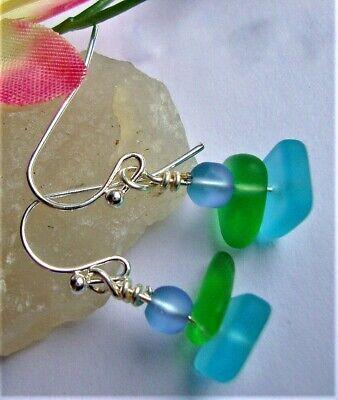 Seaglass Conch Shell Earrings \\ Aqua Green  Seaglass Earrings \\Ocean Jewelry \\Beach Glass Earrings \\Boho Earrings \\ Mint Green Dangles