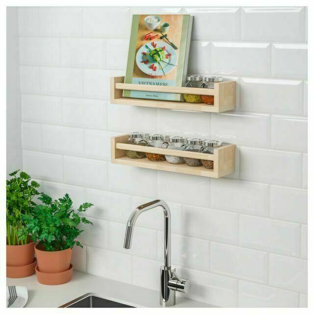Ikea Bekvam Wall Mounted Pine Spice Rack Kitchen Jar Storage Wooden Shelf For Sale Online Ebay