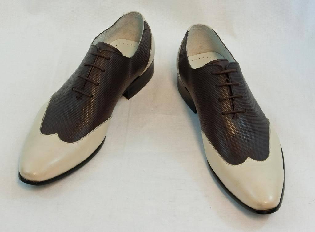 New Encore Dress shoes by Fiesso Beige Coffee  Wingtip Leather, FI 3046