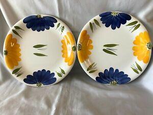 2-MAXAM-Dinner-Plates-La-Primula-Daisy-Floral-Yellow-Blue-Italy-Lot-Set-10-25