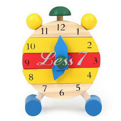 New Wooden Learn Time Clock Educational Disassembly Toy Brick Baby Kids Children