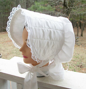 CIVIL WAR DRESS VICTORIAN ACCESSORIES LADY'S WHITE 100% COTTON SLAT~SUN BONNET
