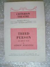 1952 Criterion Theatre Programme THIRD PERSON-Ursula Jeans,R Dunning,A Rosenthal