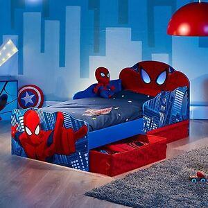 SPIDERMAN JUNIOR TODDLER BED WITH STORAGE LIGHT UP EYES + MATTRESS