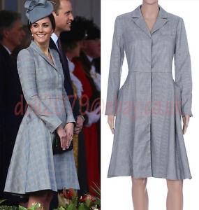 Winter-Grey-Checked-Plaid-Wool-Cotton-Blend-Shirt-Dress-Coat-Size-8-10-12-14-16