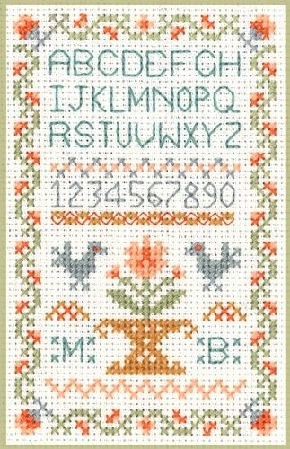 Mini Traditional Sampler Cross Stitch Kit on 14 ivory aida great for beginners
