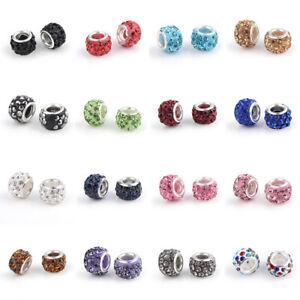 100-pcs-Rondelle-Polymer-Clay-Rhinestone-European-Beads-10-12x7-8mm-Hole-5mm