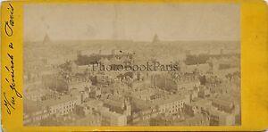 Vista Generale Da Parigi Francia Stereo Vintage Albumina Ca 1875