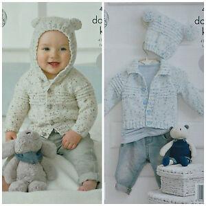 506e13714960 KNITTING PATTERN Baby EASY KNIT Long Sleeve Hooded Ears Cardigan DK ...