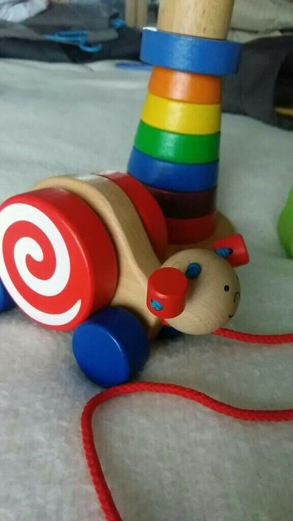 Goki 54977 Ziehtier Schnecke Wanjah Holzspielzeug