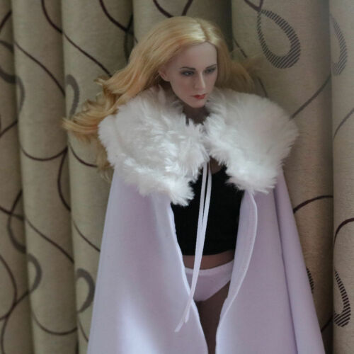 "1:6 Scale White With Fur Collar Cloak Cape For 12/"" Female Male Body Doll Toy"