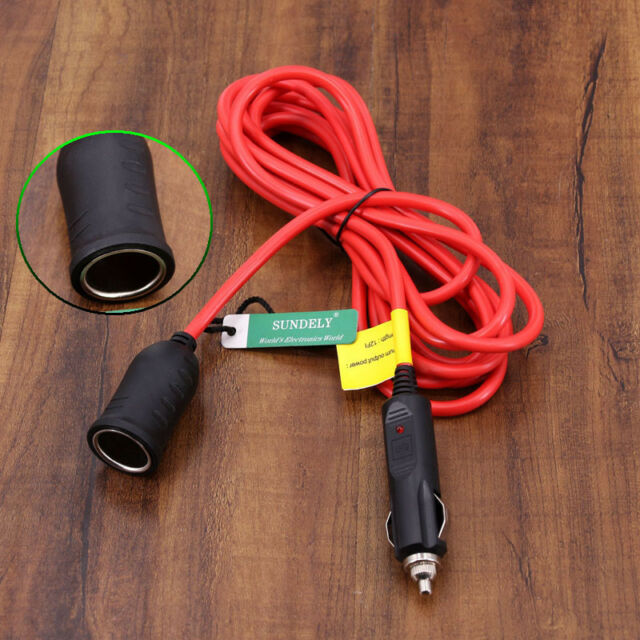 12ft 12V 24V Cigarette Lighter Plug Extension Cable with Socket 10A Fuse
