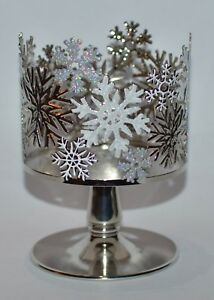BATH-amp-BODY-WORKS-GLITTER-SNOWFLAKES-PEDESTAL-LARGE-3-WICK-CANDLE-HOLDER-SLEEVE