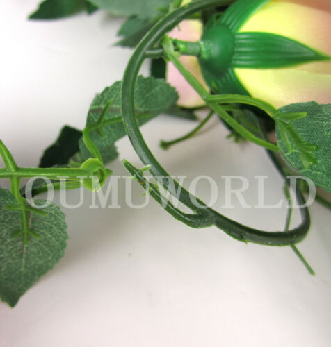 3PC 7.7 Ft Artificial Rose Garland  Flower Vine Ivy Wedding Garden String Decor