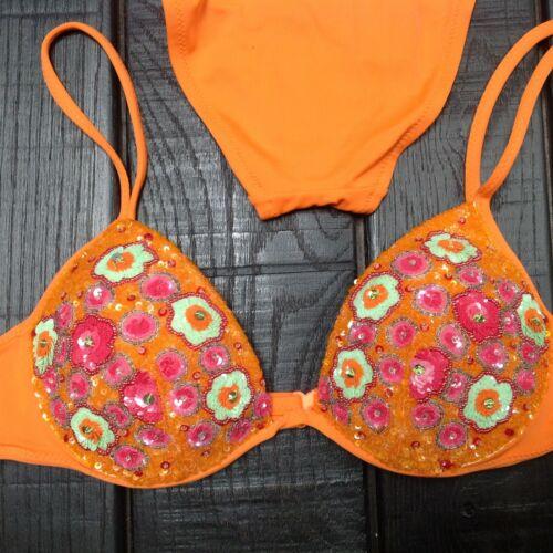 La Perla Orange Beaded Two Piece Bikini / Swim RAR