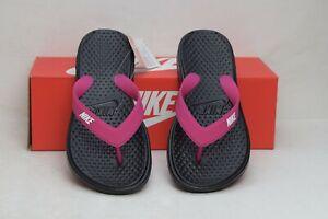 Nike-Women-039-s-Solay-Thong-Sandal-Black-White-Vivid-Pink-882699-001-Size-5-Regular