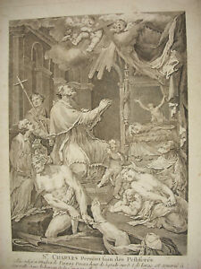 Antique-Print-Saint-Charles-Borromeo-amp-Plague-Victims-Massilien-c1750