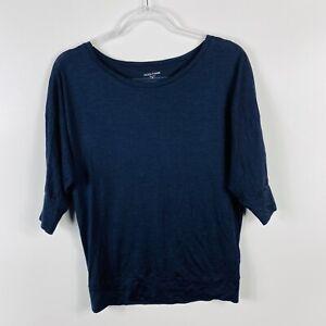 Eileen-Fisher-Size-XS-Navy-Blue-Lightweight-Jersey-Top-3-4-Sleeve-Scoop-Neck