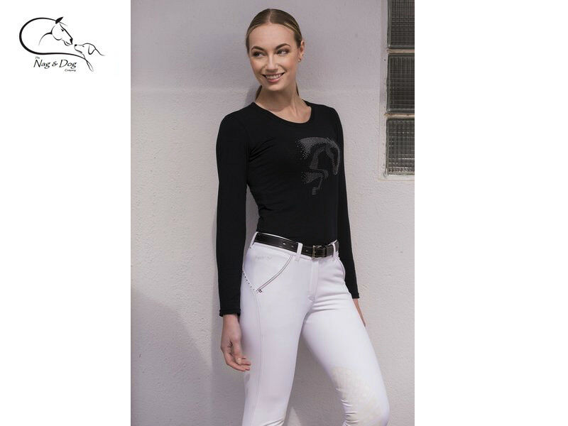Ladies Long Sleeve T- Shirt Jumping Design Strass Sparkle FREE DELIVERY