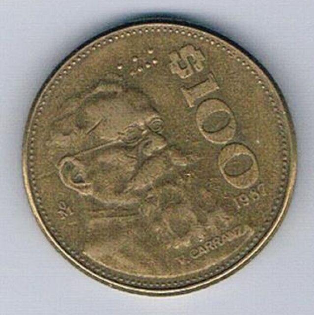 1987 Mexico Mexican 100 Peso Coin Eagle Snake