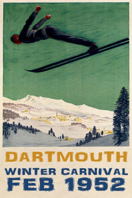 MAN DOWNHILL SKIING SKI JUMPING DARTMOUTH 1952 CARNIVAL VINTAGE POSTER REPRO