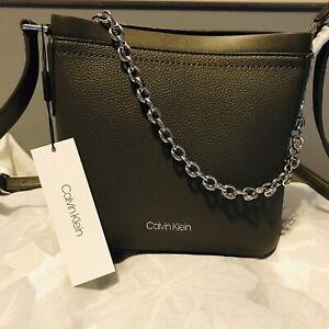 NWT-Calvin-Klein-Pebble-Chainlink-Crossbody-Bag
