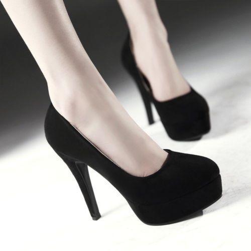 # Chaussures femme bout rond talon haut compensées en daim synthétique Bureau Formelle Chaussures Escarpins