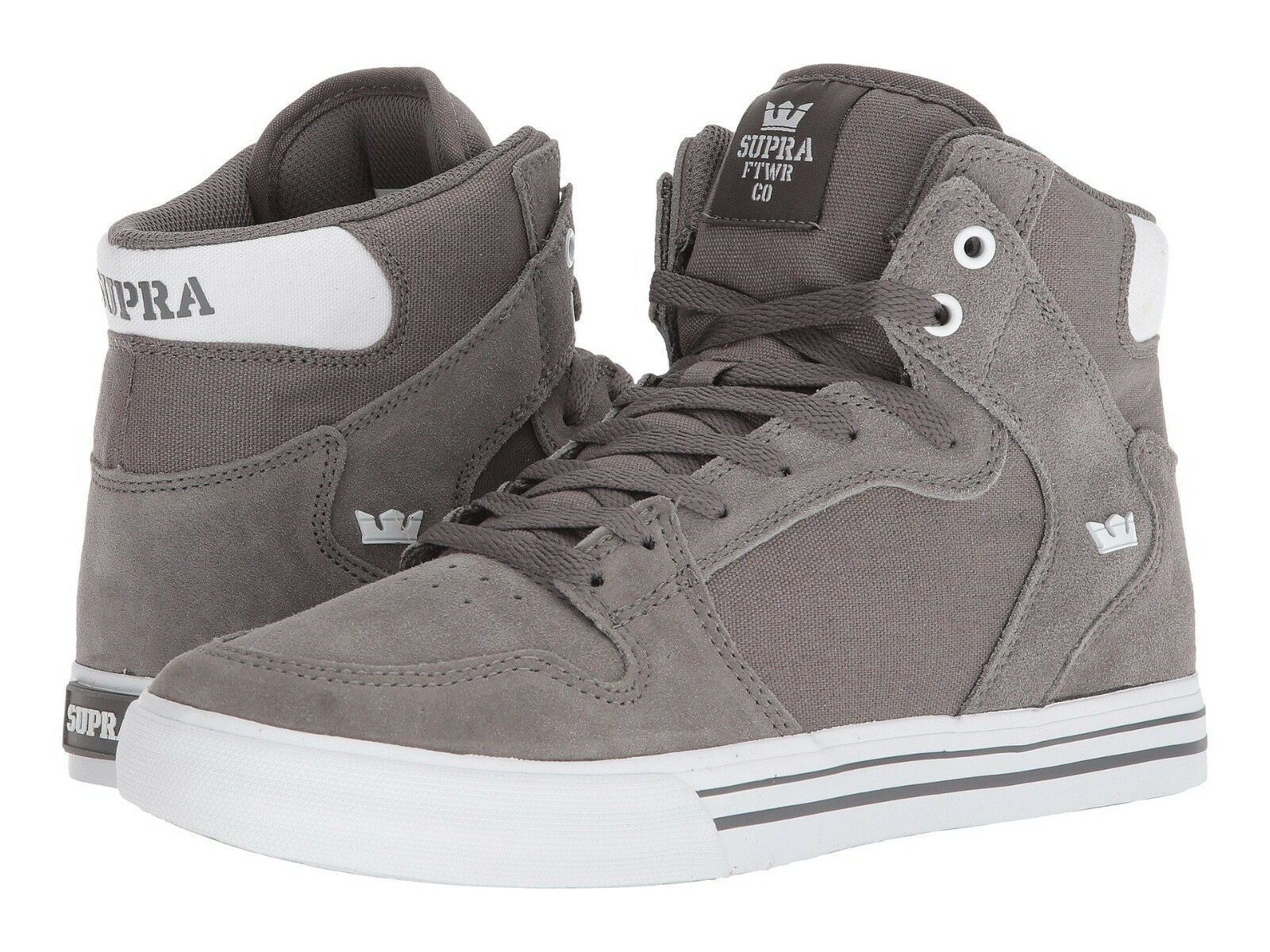 NEW NEW SUPRA VAIDER CHARCOAL WHITE WHITE CHARCOAL SURF BMX SNOW SKATEBOARD SPORTS SHOES 9.5 Scarpe classiche da uomo 704384