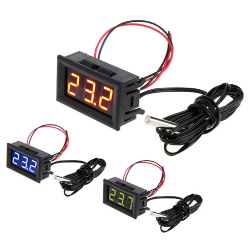 Digital 12V LED Temperature Monitor Thermometer Test Meter W// Temp Probe