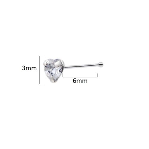 Emerald Green CZ Heart Short Nose Stud Ball End 925 Sterling Silver Bone Ring UK