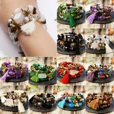 Boho Multilayer Natural Stone Crystal Bangle Beaded Bracelet Women Jewelry New