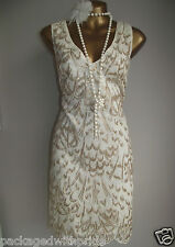 MONSOON IVORY GOLD EMBROIDERED SEQUIN EMBELLISHED 20's GATSBY SHIFT DRESS 8