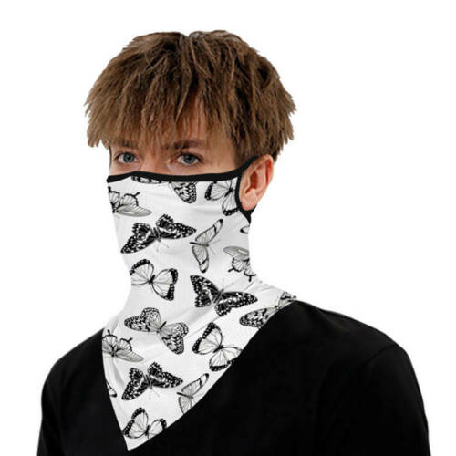 Unisex Face Scarf Bandana with Ear Loops Butterfly