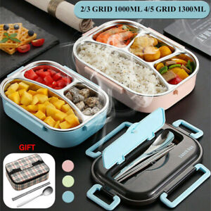 Stainless Steel 2/3/4 Grid Thermal Insulated Lunch Box Bento Food Container Kids