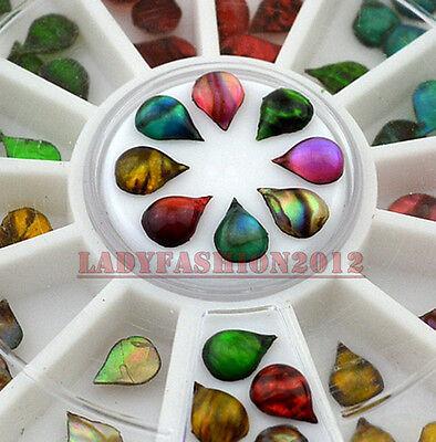 60Pcs Colorful Flame Stone Drop Shape Acrylic Nail Art Decoration Phone Tips