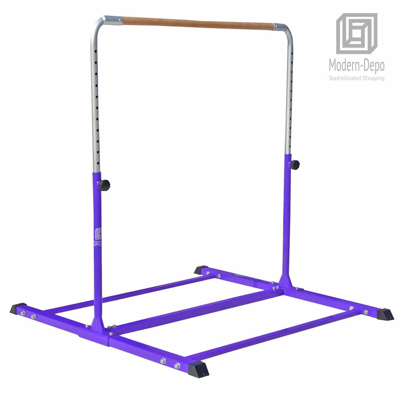 Adjustable (3'-5') Horizontal Bar Expandable Gymnastics Junior Kip Bar - Purple