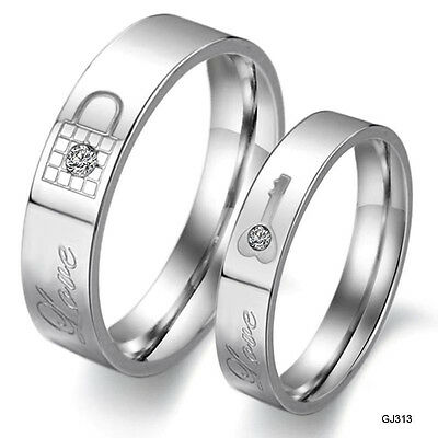 Love Couple Rings Stainless Steel Love Key Lock Wedding bands Promise Ring set