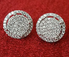 Men's Sterling Silver 925 Iced-Out 14mm CZ Earring Round Cluster Screw Back big