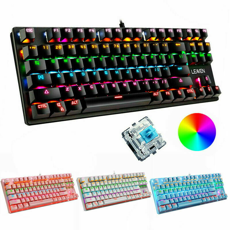 Mechanical Gaming Keyboard Wired 87 Keys RGB Backlit for PC Loptap PS4 Xbox one