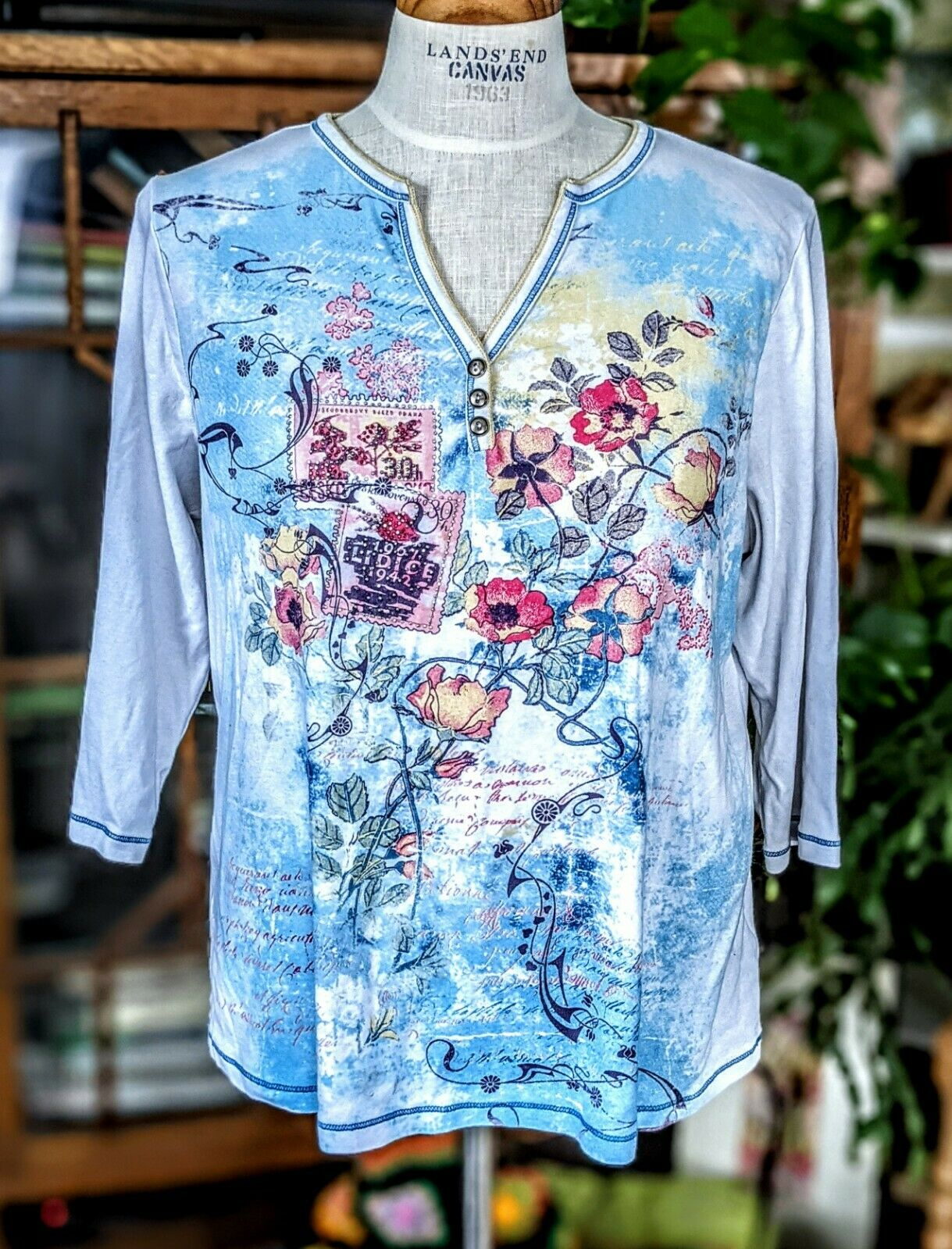 Vintage 1X Blue Canyon 3/4 Sleeve Top Floral Rhin… - image 3