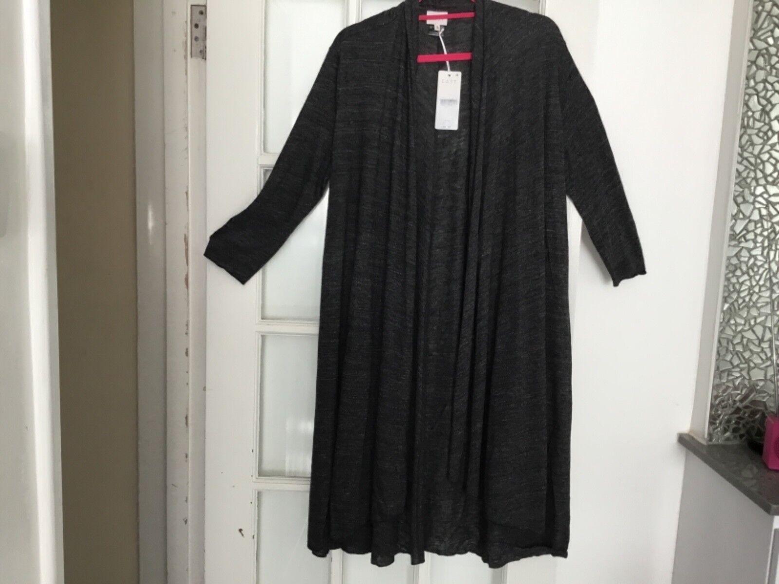 East John Lewis slate slate slate grey long cardigan duster size small fits 10 12 694834