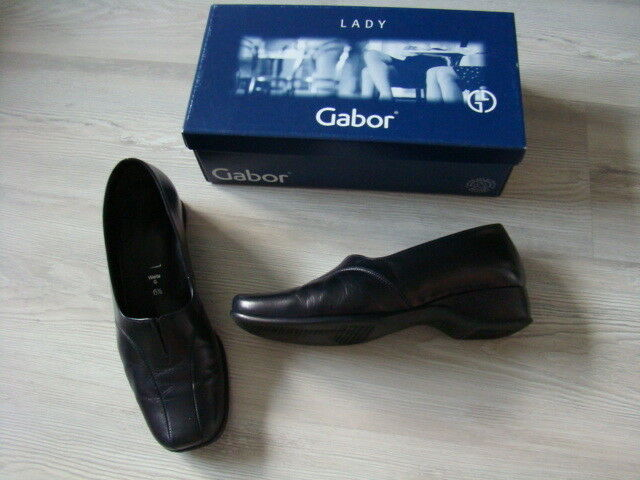 Gabor Damen LEDER Schuhe 40 6,5 G KRETA KID schwarz Halbschuhe Slipper kaum getr
