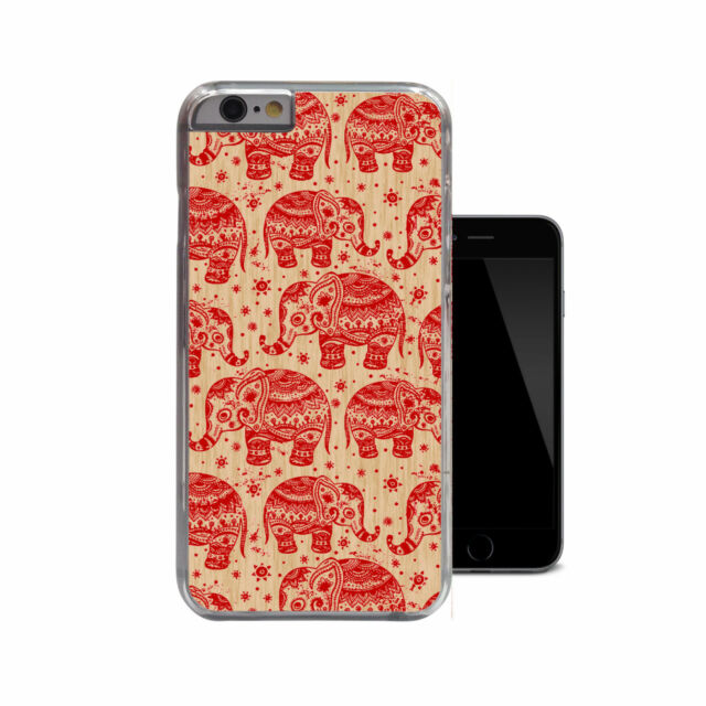 Ornate Red Elephants Tribal Wood Ethnic Patterned Case For iPhone 4 4s 5 5s 5c 6