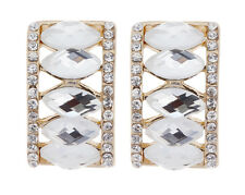 CLIP ON EARRINGS - gold curved earring with oval stones and crystals - Magde