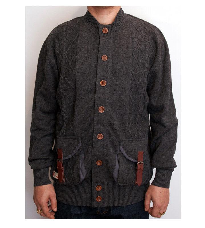 Marshall Artist Charcoal Grau Button Up Cardigan